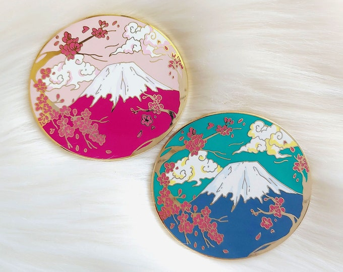 Mt. Fuji Scenic Enamel Pin (Pink and Green Variants)