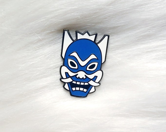Japan Inspired Sapphire Spirit Mask Enamel Pin