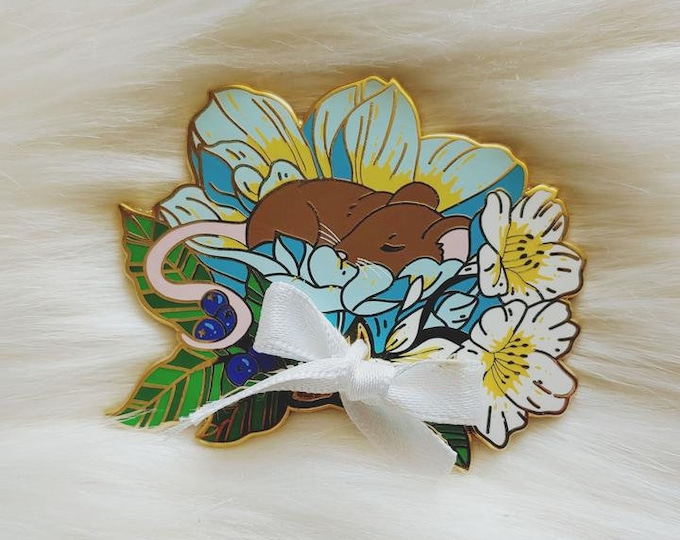 Fancy Florals Sleeping Mouse Enamel Pin