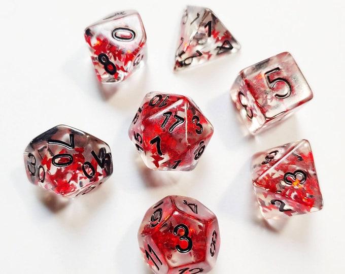 DnD Dice Set - Resin Dice: Red Butterflies