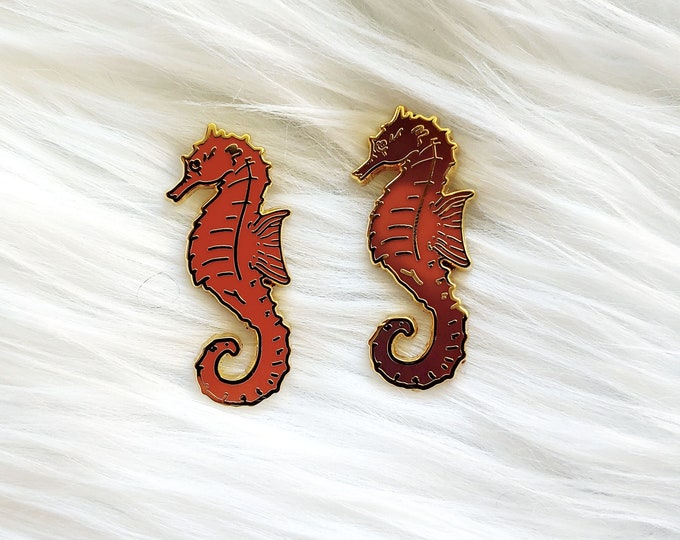 Orange and Purple Color Changing Thermal Seahorses Charity Enamel Pin