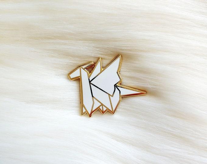 Pure White Origami Dragon Pin