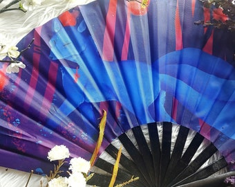 Dark Kitsune Japanese Bamboo Fan - Wall Décor or Hand Fan