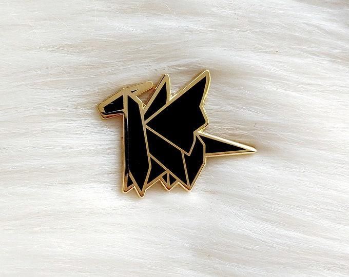 Midnight Black Origami Dragon Pin
