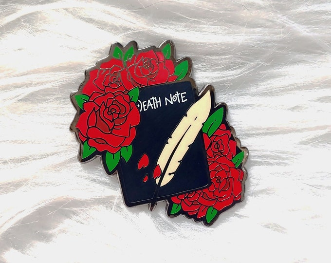 Floral Death Notebook and Quill Enamel Pin