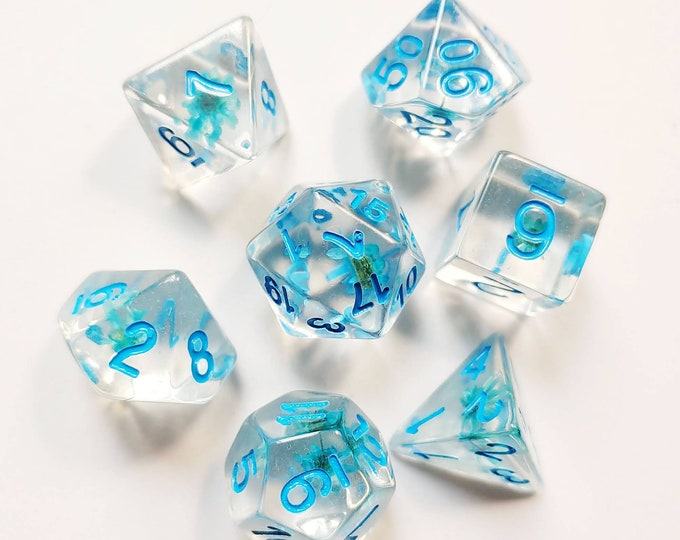DnD Dice Set - Resin Dice: Blue Floral