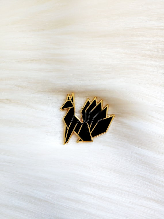 Midnight Black Origami Kitsune Pin