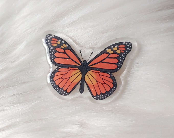 Monarch Butterfly Glitter Acrylic Pin