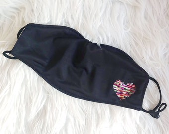 Adjustable Poly-Cotton Face Covering with Filter Pocket - Glitch Heart