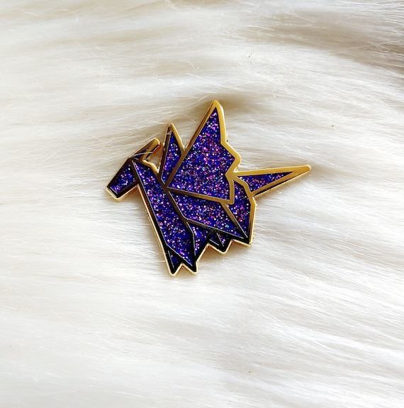 Galaxy Glitter Origami Dragon Pin
