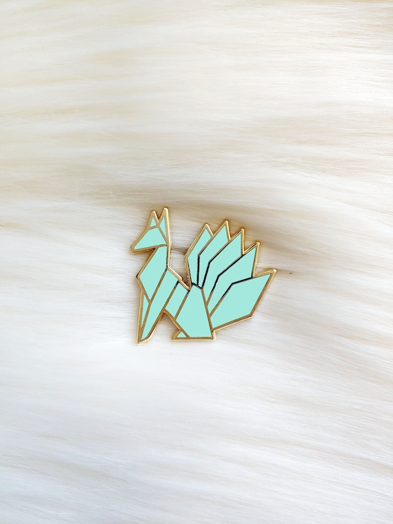 Mint Origami Kitsune Pin **Preorder Deal**