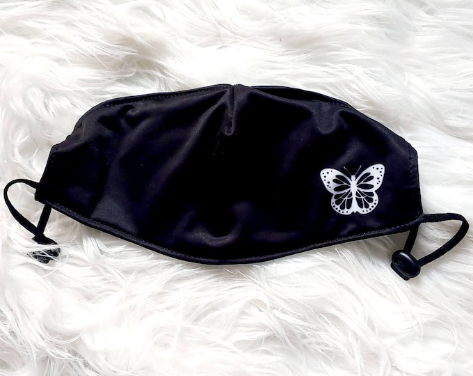 Adjustable Poly-Cotton Face Covering with Filter Pocket - Butterfly
