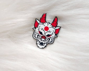 Japan Inspired White Dragon Mask Small Enamel Pin
