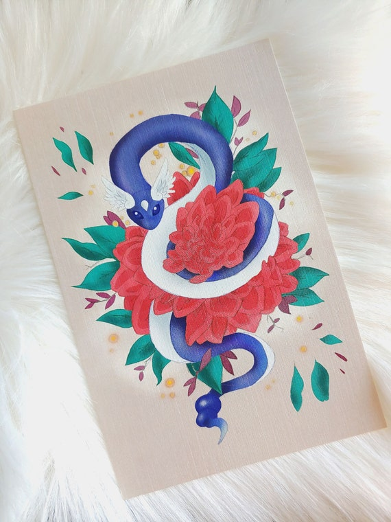 Mini Dragon Noodle Floral Art Print