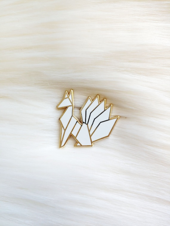 Pure White Origami Kitsune Pin