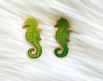 Yellow and Green Color Changing Thermal Seahorses Charity Enamel Pin
