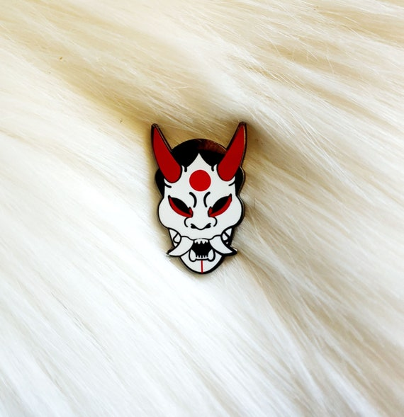 Japan Inspired Oni Mask Small Enamel Pin *Seconds Imperfect Pin Deal*