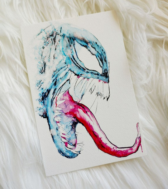 Mini Venom Watercolor Art Print