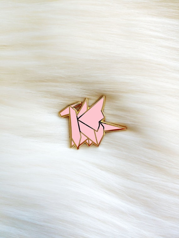 Pink Origami Dragon Pin **Preorder Deal**