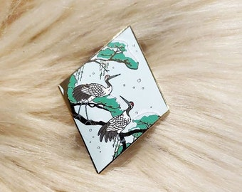 Scenic Japan Enamel Pin Series - Winter Cranes