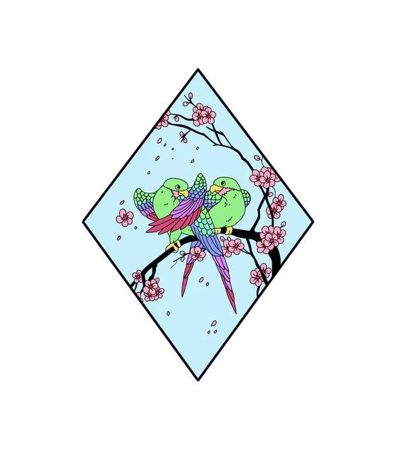 Cherry Blossom Lovebirds Scenic Japan Enamel Pin **Preorder**
