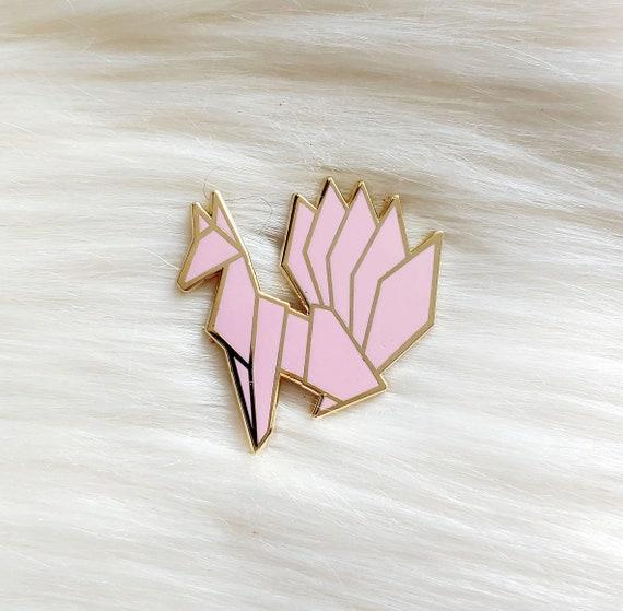 Baby Pink Origami Kitsune Pin