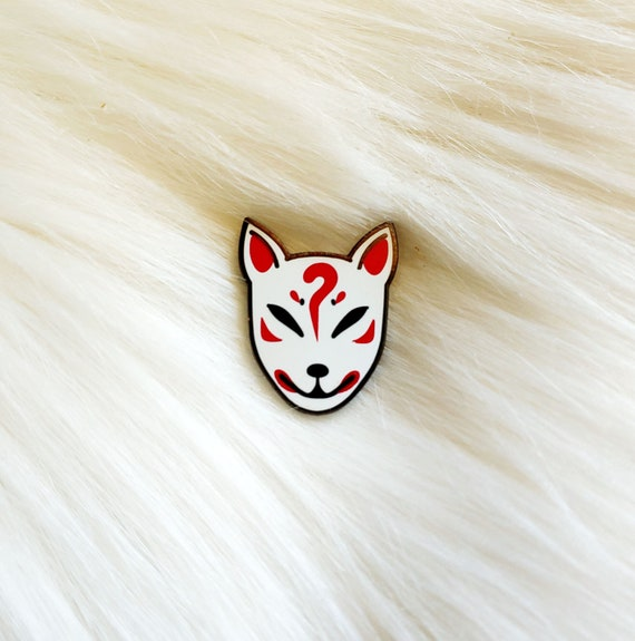 Japan Inspired Kitsune Mask Small Enamel Pin *Seconds Imperfect Pin Deal*