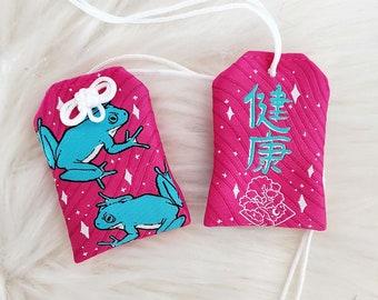 """Frog """"Good Health"""" Omamori Charm - Pink"""