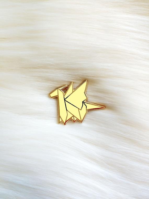 Yellow Origami Dragon Pin **Preorder Deal**