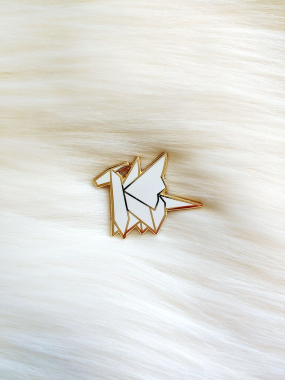 Pure White Origami Dragon Pin