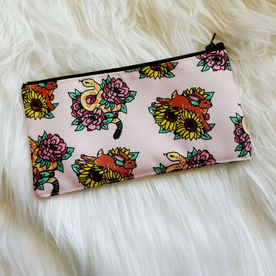 Desert Floral Snake and Rabbit Pencil or Cosmetic Pouch