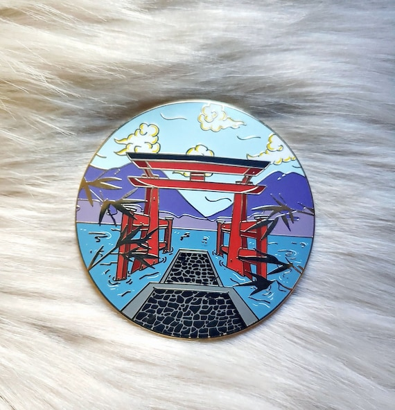 Scenic Japan Enamel Pin Series- Hakone Lake Ashi Torrii Gate