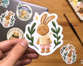Resistant die cut vinyl sticker, rabbit paint in gouache by Jaune Pop, ideal for water bottle and laptop