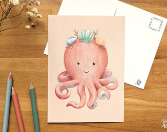 Octopus/'s garden Illustrated postcard