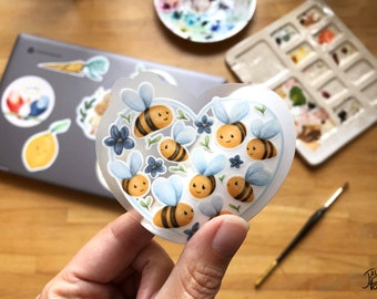 Transparent ans resistant vinyl sticker, Bees and flowers in heart shape for nature lovers, ideal for travel mug, water bottle and laptop