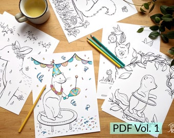 Vol. 1 - Print and Color this Set of 24 illustrations, PDF download of coloring drawings of animals for children and adults