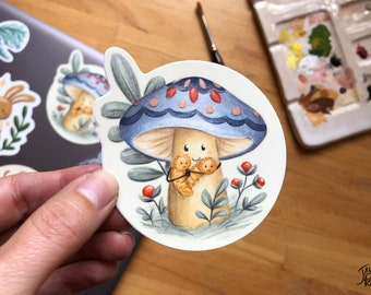 Resistant vinyl sticker, cute mushroom and his caterpillar friends, ideal for travel mug, water bottle and laptop