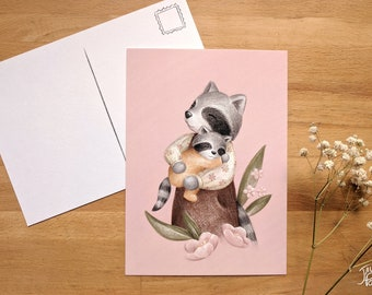Raccoon and her baby, small poster 5x7 back postcard, illustration by Jaune Pop, baby shower and mother's day gift