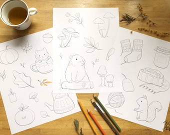 Download of 3 autumn themed coloring illustrations containing mushroom, groundhog, leaves, teapot, squirrel in PDF format