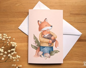 Fox and her baby card, blank inside, white envelope included, drawing by Jaune Pop, birth gift and wishes for parents
