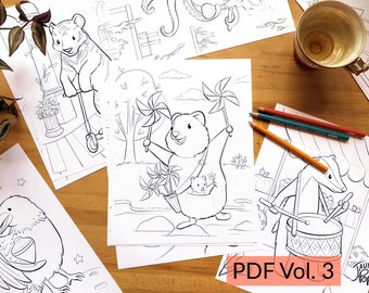 Vol 3 - Print & Color - Set of 24 Coloring Illustrations, Download PDF Fun Coloring Drawings for Kids and Adults