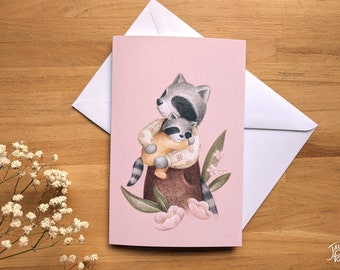 Raccoon and her baby card, blank inside, white envelope included, drawing by Jaune Pop, birth gift and wishes for parents