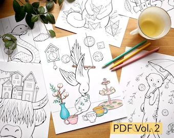 Print and Color - Set of 24 coloring illustrations VOLUME 2 - PDF download of drawings of animals in funny activities