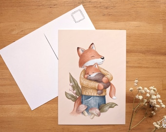 Fox and its baby, small poster 5x7 back postcard, illustration by Jaune Pop, baby shower, mother's day and father's day gift