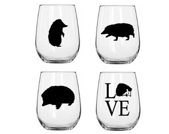 Hedgehog Wine Glass Set | Stemless Wine Glass | Gift for Her | Hedgehog Gift