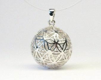 Flower of life jewelry pendant ball silver 925 flower of life sphere pendant