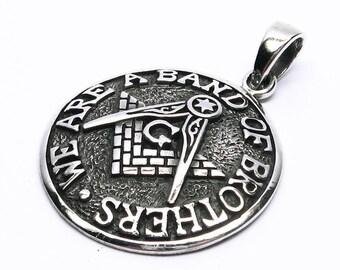 Masonic Jewelry Pendant Silver 925 Freemason masonic Circle Angle Freemasonry Compass
