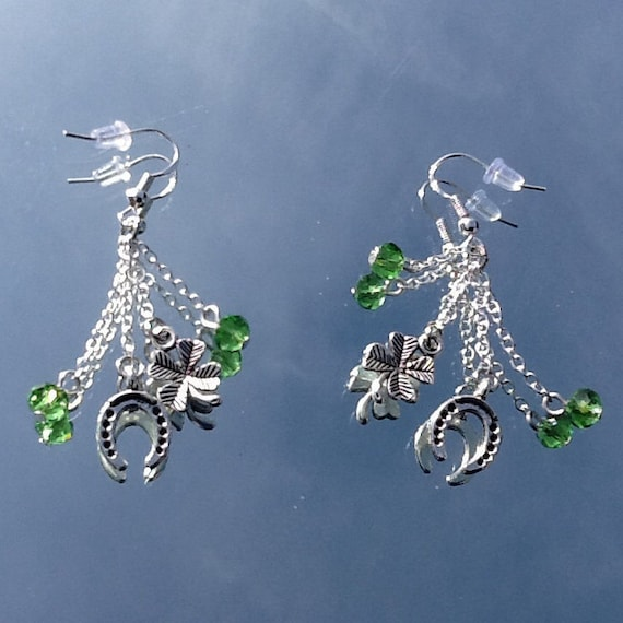 1115e93f1b4670 St Patrick s Day Earrings Shamrock Earrings Four Leaf