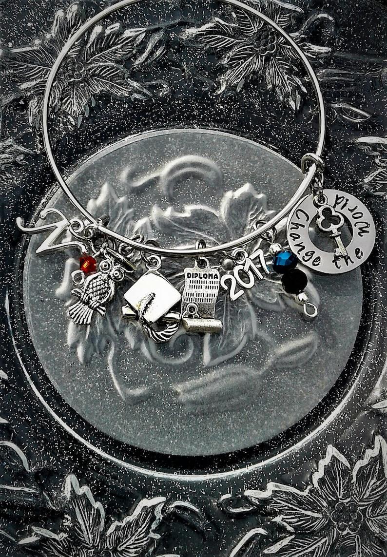 Personalized Graduation Bracelet Custom Graduation Bangle Class of 2019 Graduation Gift Jewelry Change the World Hand Stamped Charm Inital