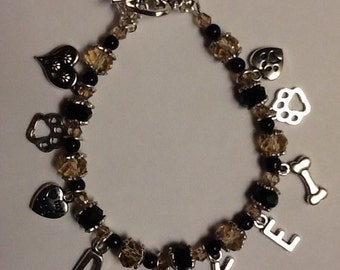 Custom Dog Charm Bracelet, Personalized Dog Bracelet, Love My Pet Beaded Bracelet, Handmade Pet Jewelry, Swarovski Crystal Bracelet, Dog Paw